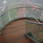 (BL-R020) Glass balustrade with steel handrails