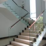(BL-R026) Glass staircase with timber handrail