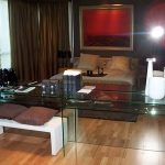 (FU-R010) Mirror wall and glass table
