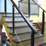 (BL-R027) Glass staircase with timber handrail