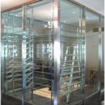 (PA-C025) Wine chiller room with stainless steel and glass partition