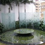 (SB-D020) Water feature sandblasted glass panel