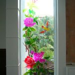 (SB-D045) Glass window with sandblast design