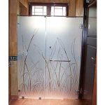 (SS-R005) Sandblasted design shower screen